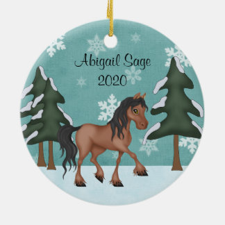 Personalised Brown Horse Snowy Holiday Christmas Ceramic Ornament
