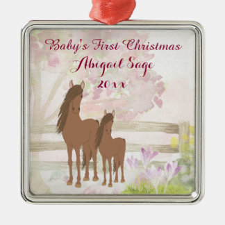 Personalised Brown Horses Baby's 1st Christmas Metal Ornament