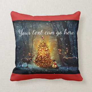 Personalised Bucks and Trees Christmas Cushion
