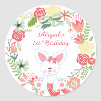 Personalised Bunny and Flower Wreath 1st Birthday Classic Round Sticker