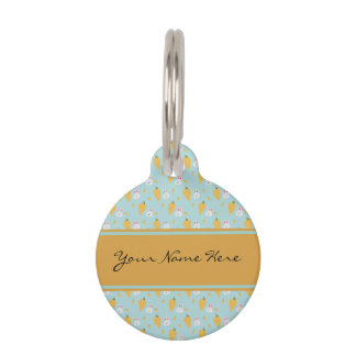 Personalised Bunny & Carrot Pattern on Pastel Blue Pet ID Tag