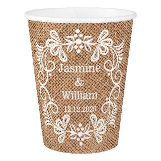 Personalised Burlap Rustic Wedding Paper Cup