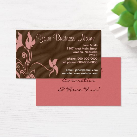 Personalised Business Cards, Feminine Pink / Brown Business Card