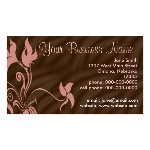 Personalised Business Cards, Feminine Pink / Brown Pack Of Standard Business Cards