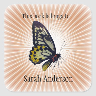 Personalised Butterfly Bookplate Sticker