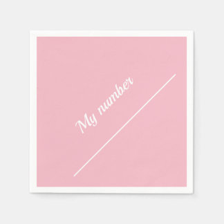 Personalised Calligraphy Name My number Pink Disposable Serviette