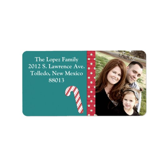 Personalised Candy Cane Stripes on T Mailing Label Address Label