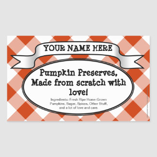 Personalised Canning Jar Label, Orange Gingham Rectangular Sticker