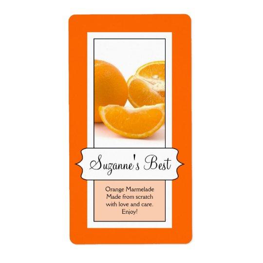 Personalised Canning Jar Label, Orange Shipping Label