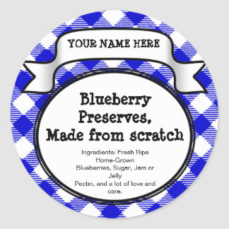 Personalised Canning Jar/Lid Label, Blue Gingham Round Sticker
