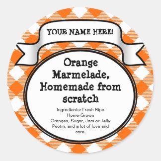 Personalised Canning Jar/Lid Label, Orange Gingham Round Sticker