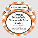 Personalised Canning Jar/Lid Label, Orange Gingham Round Sticker