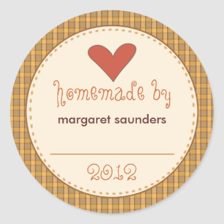 Personalised Canning Stickers - Round Amber Plaid