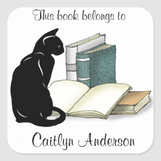 Personalised Cat and Books  Bookplate Sticker