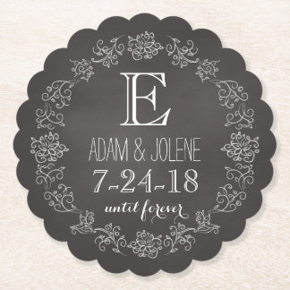 Personalised Chalkboard Monogram Wedding Date Paper Coaster