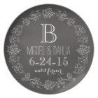 Personalised Chalkboard Monogram Wedding Date Plate