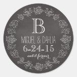 Personalised Chalkboard Monogram Wedding Date Round Sticker
