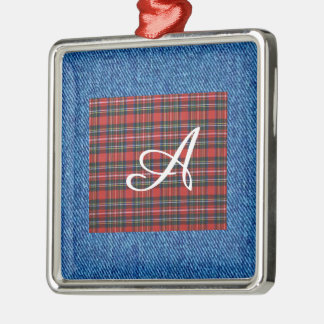 Personalised Check Denim Metal Ornament
