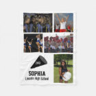 Personalised Cheerleader 5 Photo Collage Name Year Fleece Blanket
