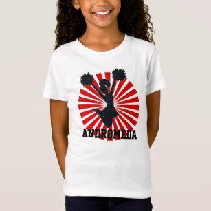 Personalised Cheerleader In Red Sunburst T-Shirt