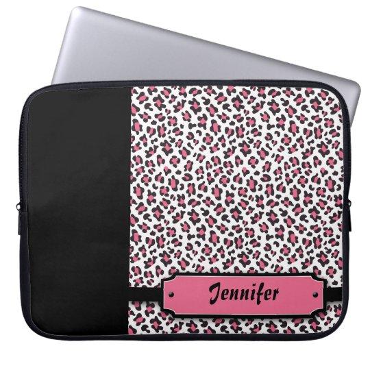 Personalised cheetah print pink laptop sleeve