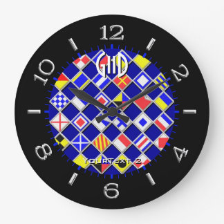 Personalised Chequered Nautical Flags Dial on a Clock