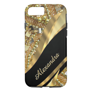 Personalised chic elegant black and gold bling iPhone 8/7 case