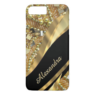 Personalised chic elegant black and gold bling iPhone 8 plus/7 plus case
