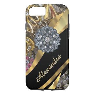 Personalised chic elegant gold rhinestone bling iPhone 8/7 case