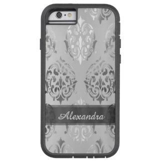 Personalised chic elegant silver grey damask tough xtreme iPhone 6 case