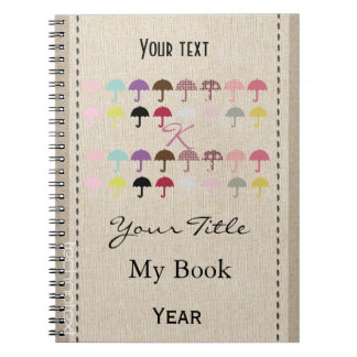Personalised Chic Fancy Pink Monogrammed Umbrellas Notebooks