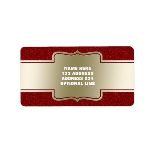 Personalised Chic Gold and Red Glitter Effect Label