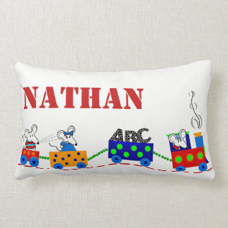Personalised Childs Train & Mice PILLOW