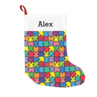 Personalised Christmas Autism Awareness Puzzle Small Christmas Stocking