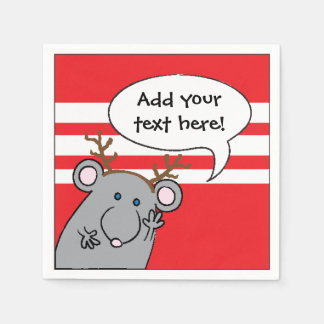 """Personalised Christmas Cocktail Napkins """"Mouse"""" Disposable Serviettes"""