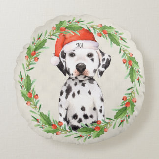 Personalised Christmas Holiday Dalmatian Round Cushion
