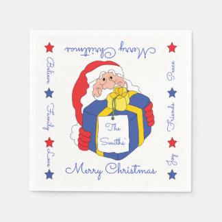 "Personalised Christmas Napkins ""Sanata Claus"" Disposable Serviette"