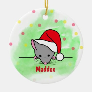 Personalised Christmas Ornament Cartoon Mouse