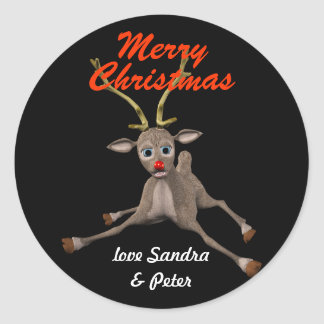 Personalised Christmas Rudolph Black Gift Tag