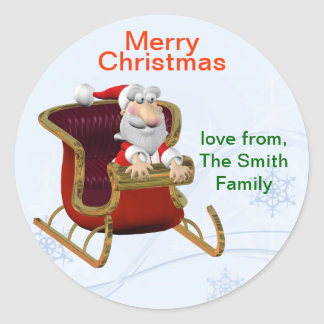 Personalised Christmas Santa Gift Tag/Label Classic Round Sticker