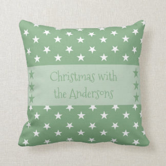 Personalised Christmas stars green Throw Pillow