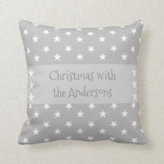 Personalised Christmas stars grey Throw Pillow
