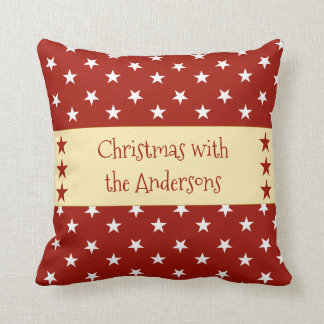 Personalised Christmas stars red Throw Pillow