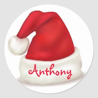 Personalised Christmas Stickers/Santa Hat Classic Round Sticker