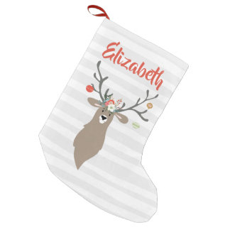 Personalised Christmas Whimsical Stag Deer Small Christmas Stocking