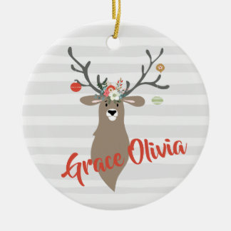 Personalised Christmas Whimsical Stag With Antlers Ceramic Ornament