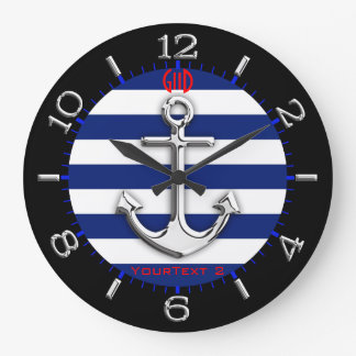 Personalised Chrome Anchor Navy Blue Stripes Dial Wall Clock