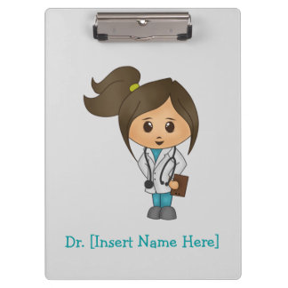 Personalised Clipboard - Female Brunette Doctor