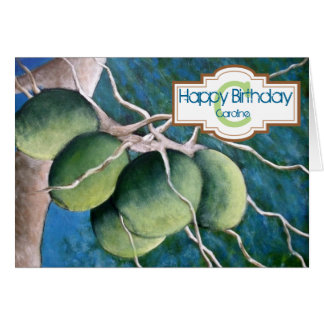 Personalised Coconuts Happy Birthday Art Card