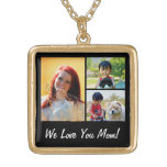 Personalised Collage 3 Photo Mother's Day Square Pendant Necklace